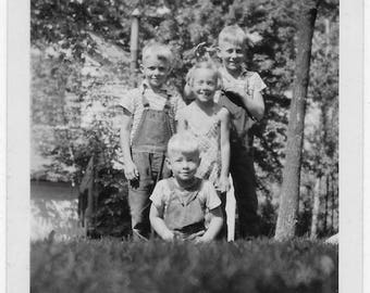 Old Photo Children pose on Lawn Boys Girl 1930s Photograph Snapshot vintage Kids