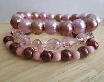 3 Stretch Bangle Bracelet with Pink, Gold and Brown Sea Shell Pearls and Pink Crystal Beads