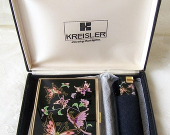 Vintage Cigarette Holder and Lighter by Kreisler, Jewelry That Lights.Retro Cigarette Box.Retro Cigarette Holder and Cigarette Lighter.
