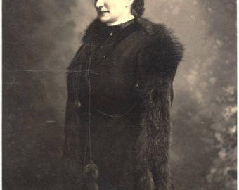 Photo of Woman with Bird Hat and Fur Circa 1910