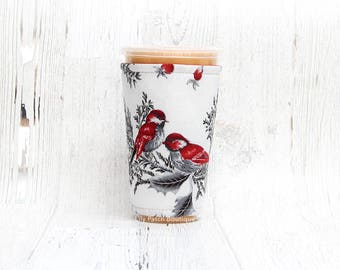 Red Finch Coffee Cozy, Iced Coffee Cozy, Cup Cozy,  Coffee Cozy, Coffee, Cup Sleeve, Iced Coffee Cozy, Coffee Cuff