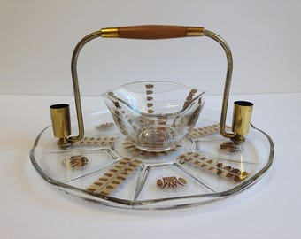 Vintage Mid Century Georges Briard Regalia Glass Hors d'oeuvres Serving Tray with Bowl