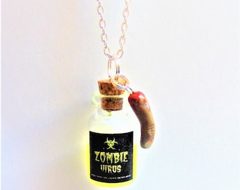 Zombie Necklace, Zombie Virus Pendant, Miniature Bottle Necklace, Halloween Necklace Glow in the Dark Jewelry Zombie Jewelry, Zombie Pendant