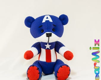 Captain America bear - marvel superhero movie comic plush toy avengers steve rogers
