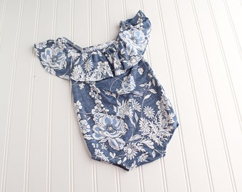 Weekend Worthy - off the shoulder ruffle SITTER romper in a faux denim knit with slate blue and white flowers (RTS)