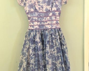 Party Dress 1950 Blue and White Floral Vintage Fit N Flare With Photograph of Original Owner