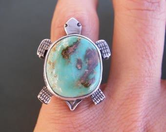 Pilot mountain turquoise turtle ring size 5