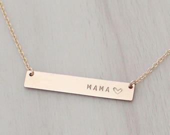 Gold Bar Mama Necklace - Silver Mama Bar Necklace - Name Bar Necklace  - New Mom Necklace - Gift for Mom