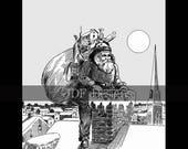 Instant Digital Download, Vintage Edwardian Graphic, Antique Santa Claus on Rooftop, Chimney, Toys Print Printable Image Scrapbook, St. Nick