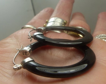 Sterling Silver Black Jade Hoop Earrings- 6 grms-hang 38mm fm hole-across 35mm -3mm wide-1949