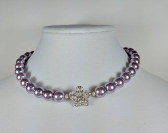 Lavender Pearl Choker with Crystal Flower Accent, in Silver