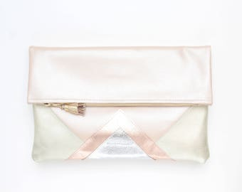Large leather bag. Fold over clutch. Geometric purse. Statement bag.Metallic natural leather.Nude rose gold beige silver handbag /CARRIER 23