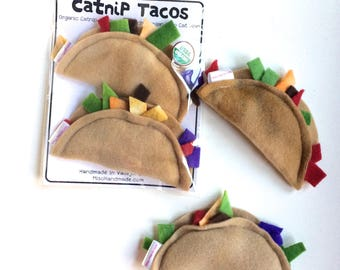 Catnip Tacos | Organic Catnip Toys | Tacos | Cat Toys | Vegan Cat Toys | Handmade Cat Gift | Gift for Cat | Stocking Stuffer | Fun Cat Toys