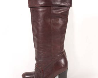 VINTAGE 90s Miss Sixty Brown Leather Fold Over Boots w Chunky Heel sz 7 | Retro Fashion Runway Italian Boots