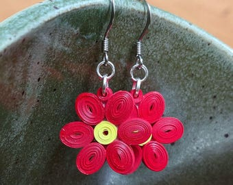 Red Flower Paper Quilling Earrings | First Paper Anniversary Gift for Her | Stainless Steel Hypoallergenic for Sensitive Ears