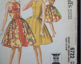 Vintage McCalls Pattern 6722 Sleeveless Dress with Part-way Zipper and Three Gore Skirt circa 1960s Size 12