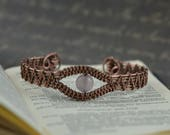 Copper Cuff Bracelet for Women with Rose Quartz Rustic Wire Weave Bracelet Wire Woven Bracelet Chakra Bracelet 7th Anniversary Gifts for her