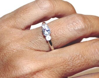 Three Stone Ring, White Sapphire Ring With Rose Quartz Accent Stones, Anniversary Ring