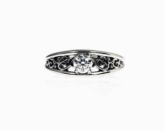0.35ct Diamond engagement ring, filigree ring, filigree engagement ring, white gold, solitaire, wedding ring, diamond ring, unique, lace