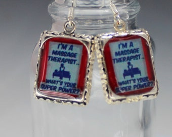 Massage Therapist Therapy Earrings Jewelry Red White 3D Dimensional Silver Picture