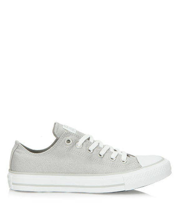 Silver Converse Wedding Gray Glam Low Top Custom Glass Slippers w/ Swarovski Crystal Chuck Taylor Rhinestone Bling All Star Sneakers Shoes