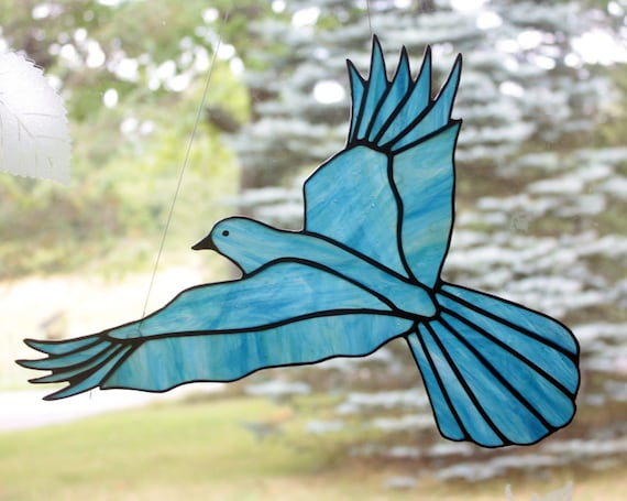 Bluebird Stained Glass Bird Large Suncatcher