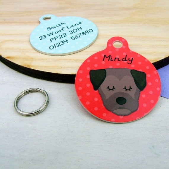 Border terrier dog tag personalised dog tag border terrier like this item sciox Choice Image