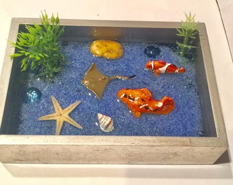 Zen garden Koi pond, Mindfullness, handmade polymer clay Koi fish,sensory bend,peace of mind,soothing,therapy,koi fish,desktop koi pond