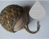 PDF Knit Pattern #0059 The Kamryn Knit Bonnet, Newborn, Knit PDF Pattern, Tutorial, Knit Pattern, Intermediate,Instruction,Newborn