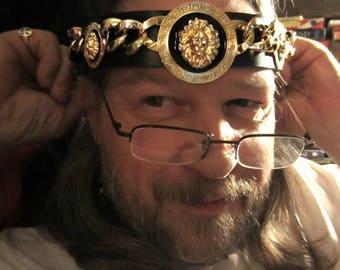 Kings Crown, Mens Headpiece, Golden Lion Headpiece, Black Leather Headband, Burning Man, Ren Fair, Made to Order