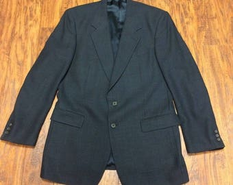 Vintage Retro 80s 90s Patrick James Worsted 100% Wool 3-Button Sport Coat Suit Jacket Blazer 42L