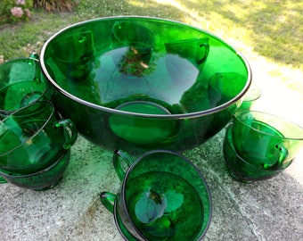 Anchor Hocking vintage forest green punch bowl with 17 cups