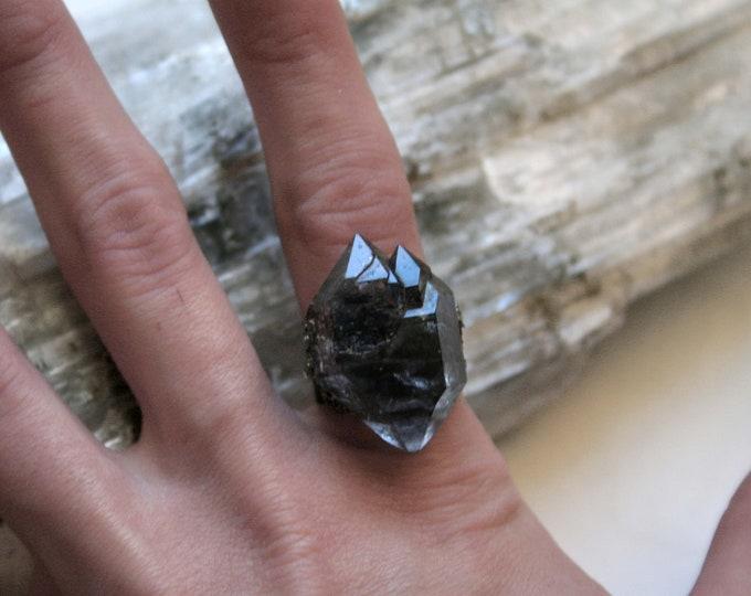Tibetan Quartz Smoky Elestial Crystal Ring