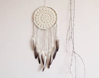 Dream catcher, large dreamcatcher, boho, wall decoration, pastel, earthy, wall hanging, handmade, bedroom, nursery, pigeon feather, bohemian