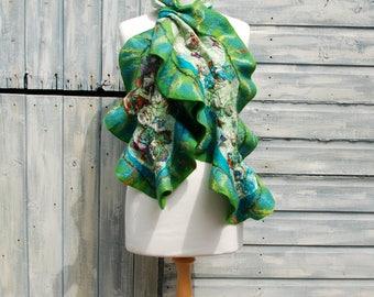 Nuno Felted scarf, felt scarf, felted ruffle scarf,merino wool shawl, silk, green, turquoise, purple, spring wool scarf, gift