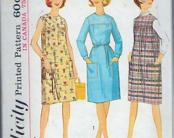 """Vintage 1964 Simplicity 5402 Misses One-Piece Dress Or Jumper Sewing Pattern Size 14 Bust 34"""""""