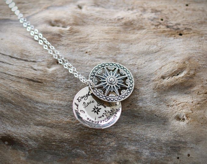 The Love Between a Mother and Daughter   Christmas Gift   Long Distance  Gift for Mom  Gift from Daughter  Mother Necklace   Sterling Silver