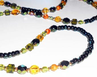 Beaded Eyeglass Chain in Fall Colors, Cream Green Amber Eyeglass Chain, Beaded Eyeglass Leash, Eyeglass Lanyard, EC07208