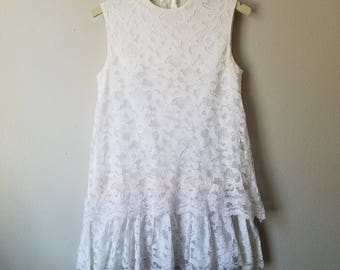 Vintage Girls White Sleeveless Lace Drop Waist Dress by Hillary - Size 6x- Gently Worn- Easter Dress- Wedding Flower Girl