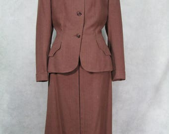 1950s Suit Vintage Chester Barrier Ladies Wool Suit Made in England Size Large