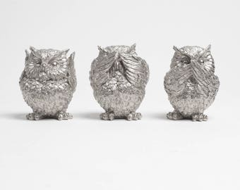 OVERSTOCK SALE - 3 Wise Owls in Silver