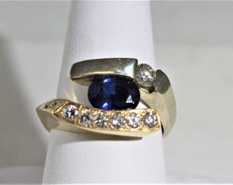 Sapphire diamond Gold band
