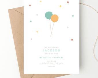 Balloon Birthday Party Invitation, Baby's First Birthday, 1st Birthday, Polka Dots, Simple Invite, Twins, Baby Girl, Baby Boy, Multiples