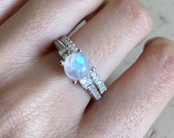 moonstone bridal set ring promise ring engagement and wedding ring wedding set ring - Moonstone Wedding Ring