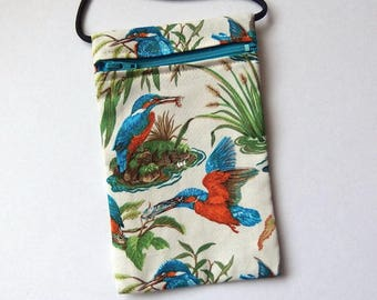 Pouch Zip Bag KINGFISHER birds Fabric. great for walkers, markets, travel.  Cell Phone Pouch. Small fabric purse. Multiple uses. bird bag