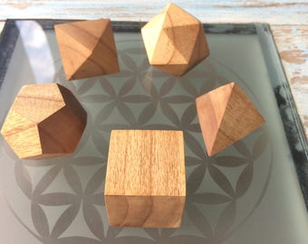 Set of 5 platonic solids sacred geometry yoga decor flower of life hand made wood
