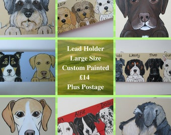 Dog Lead Holder Large Personalised Pet Portrait Custom Painted up to 3 dogs with 3 hooks