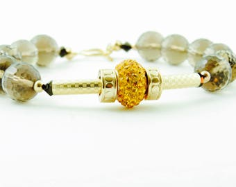 Smoky Quartz Bracelet Gold Fill  Bracelet  Swarovski Bracelet
