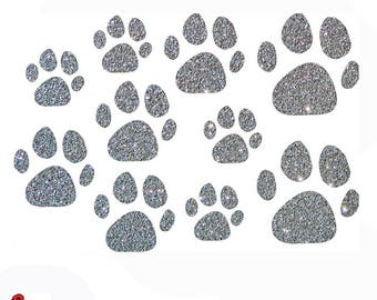 10 Glitter paws iron on patch set in 12 glittering colors 410