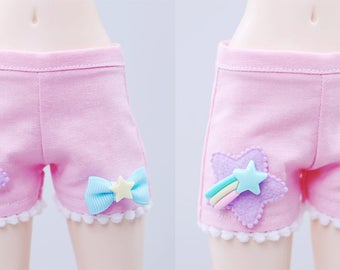 BJD Shorts - Slim MSD Minifee or Unoa - Pink Deco Star
